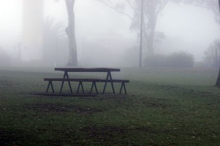 Park bench in mist Stock Photo - 589489