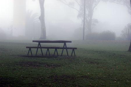 Park bench in mist