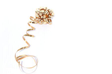 gold ribbon on white background Stock Photo - 671379