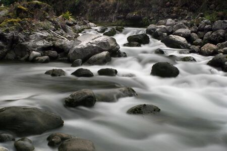 Silky water flows over rocks