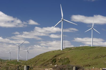 Wind farm on top of green hills Stock Photo - 895731