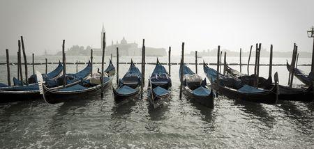 Row of Gondolas in Venice Italy
