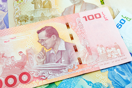 100 thai baht banknote,Commemorative banknotes in remembrance of the late King Bhumibol Adulyadej Stock Photo