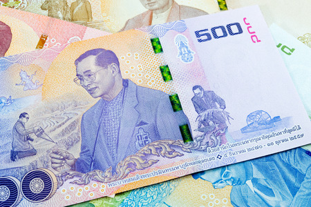 500 thai baht banknote,Commemorative banknotes in remembrance of the late King Bhumibol Adulyadej Stock Photo