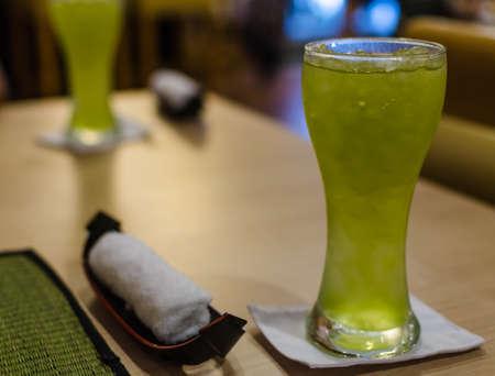 Iced japanese grean tea in restaurant
