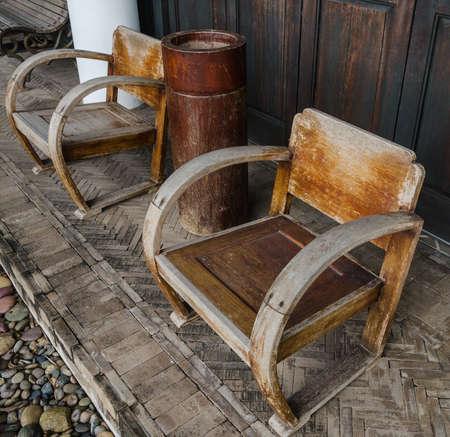 antique chair: low antique wooden arc chair