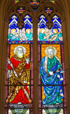 andrew: stained glass in church, St Andrew and St Martin Editorial