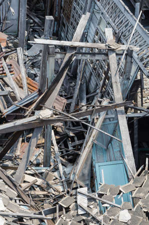 bombed city: ruin wooden house