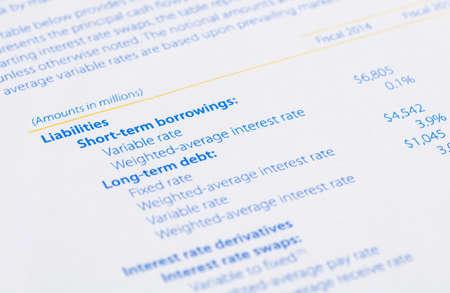 compromisos: pasivos en el balance general Foto de archivo