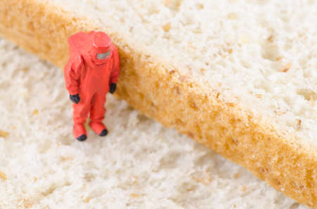 mouldy: miniature scientist checking bacteria on the bread Stock Photo