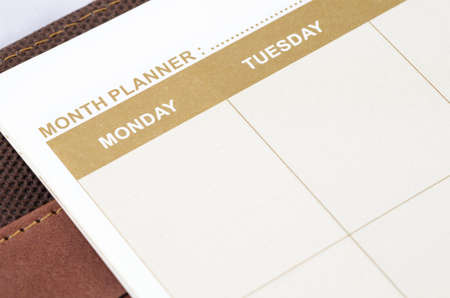almanac: close up shot of brown planner book