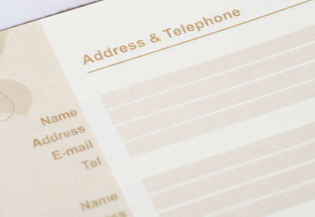 listings: close up shot of brown address book Stock Photo