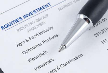 pen on the portfolio investment