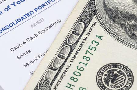 us dollar banknote on the investment portfolio