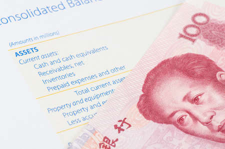 Chinese banknote on the balance sheet photo