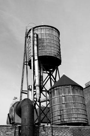 Water tanks on hotel roof in new york