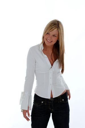 Bodyshot of young woman, smiling Stock Photo - 1280743