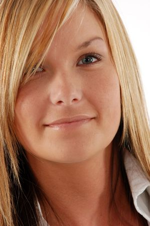Close up of a young womans face, smiling Stock Photo - 1280749