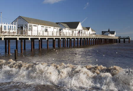 southwold: Waves in front of Southwold Pier, Suffolk