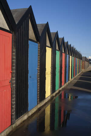 Brightly coloured  Beach Huts at Lowestoft, Suffolk photo