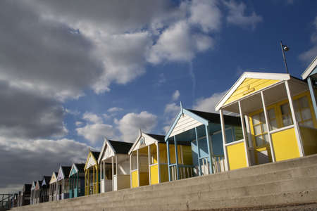 Brightly coloured Beach Huts at Southwold, Suffolk