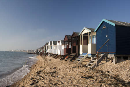 Beach Huts at Thorpe Bay, near Southend-on-Sea, Essex photo