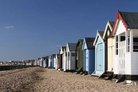 Beach Huts at Thorpe Bay, near Southend-on- Sea Stock Photo