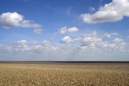 Seascape of Aldeburgh Beach in Suffolk on a spring day