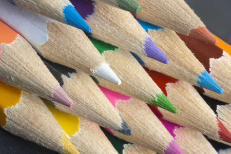 Abstract image of brightly coloured colouring pencils Stock Photo