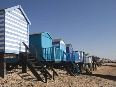 Beach Huts at Thorpe Bay, near Southend-on-Sea Stock Photo