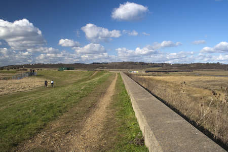 View towards South Benfleet, along the sea wall on Canvey Island. Stock Photo - 12986533