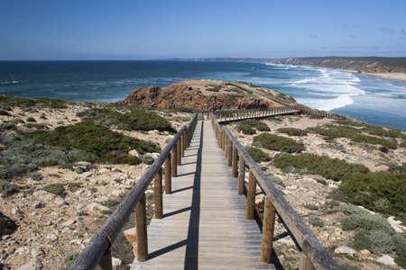 promontory: Promontory adjacent to Bordeira Beach, on the west coast of the Algarve, Portugal Stock Photo