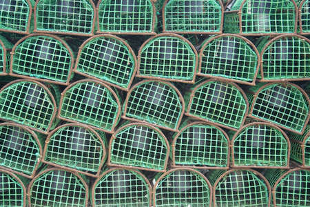 Closeup image of lobster traps used by Portuguese Fishermen