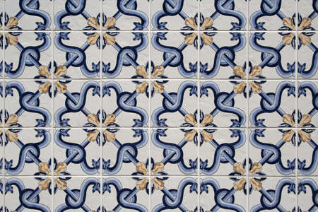 Background of traditional blue, white and gold portuguese tiles Stock Photo - 13516774
