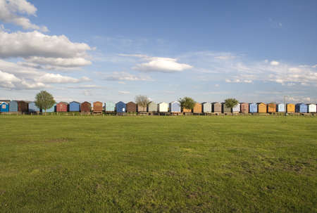 Colourful Beach Huts at Brightlingsea, Essex, England photo