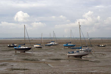 Boats on the mud flats at Old Leigh, Essex, England Stock Photo - 14146712