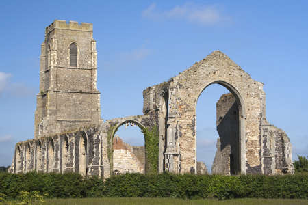 The present day Church of St Andrew, at Covehithe,  Suffolk, England, built within the shell of its predecessor, now in ruins. Stock Photo - 14229762