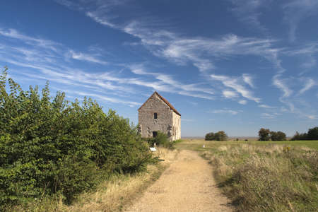 Road leading to St Peter's-on-the-Wall Chapel, Bradwell-on-Sea, Essex, England. Stock Photo - 15315329