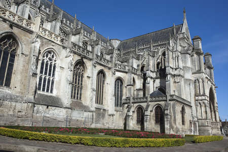 Saint Omer Cathedral, France, against a blue sky.  Stock Photo