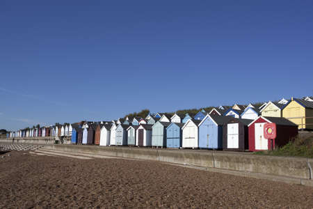 Beach Huts against a blue sky at Felixstowe, Suffolk , England Stock Photo - 15689247
