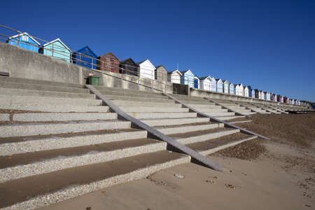Beach Huts against a blue sky at Felixstowe, Suffolk , England Stock Photo - 15689248