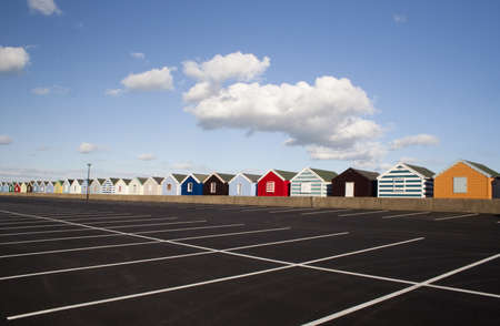 Beach Huts at Southwold, Suffolk , England, viewed from the car park Stock Photo - 15843394