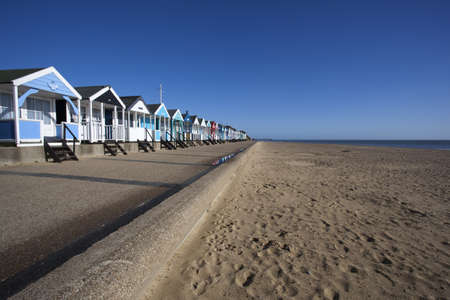 Beach Huts against a blue sky at Southwold, Suffolk , England Stock Photo - 16009207