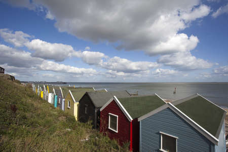 southwold: Looking out to sea, across the beach huts, at Southwold, Suffolk , England