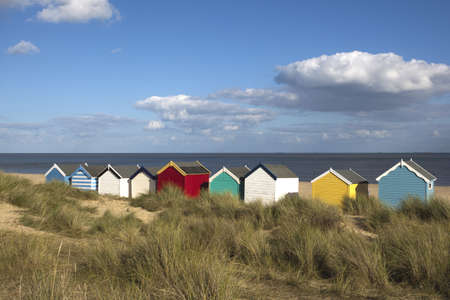 Beach Huts against a blue sky at Southwold, Suffolk , England Stock Photo - 16229406