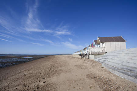 mersea: Empty beach at West Mersea, Essex, England