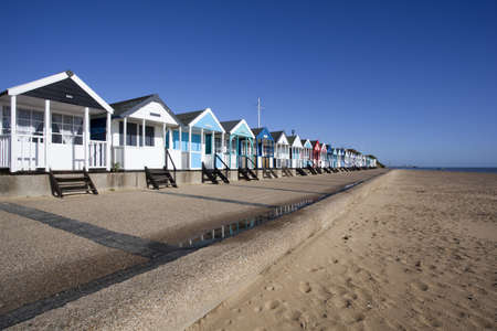 Beach Huts against a blue sky at Southwold, Suffolk , England Stock Photo - 17011016