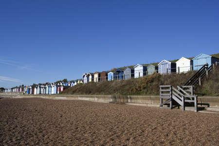 Beach Huts against a blue sky at Felixstowe, Suffolk , England