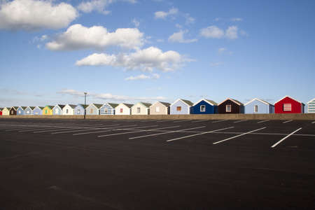 Beach Huts at Southwold, Suffolk , England, viewed from the car park  photo