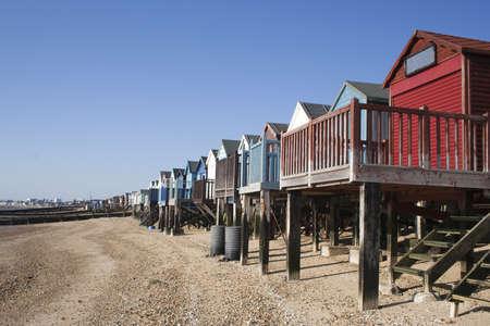 Beach Huts, Thorpe Bay, near Southend, Essex, England Stock Photo